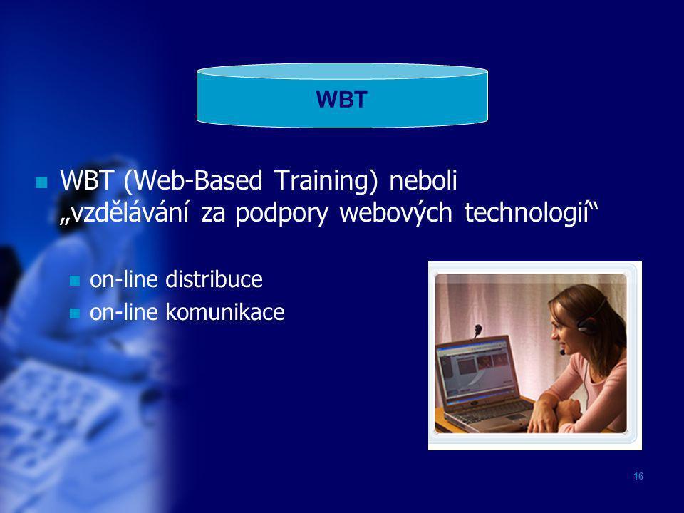"""16  WBT (Web-Based Training) neboli """"vzdělávání za podpory webových technologií""""  on-line distribuce  on-line komunikace WBT"""