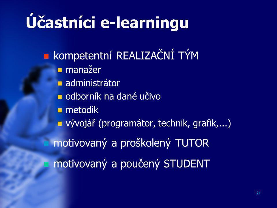 21 Účastníci e-learningu  kompetentní REALIZAČNÍ TÝM  manažer  administrátor  odborník na dané učivo  metodik  vývojář (programátor, technik, gr