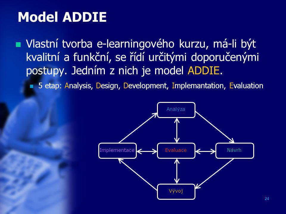 24 Model ADDIE  Vlastní tvorba e-learningového kurzu, má-li být kvalitní a funkční, se řídí určitými doporučenými postupy. Jedním z nich je model ADD
