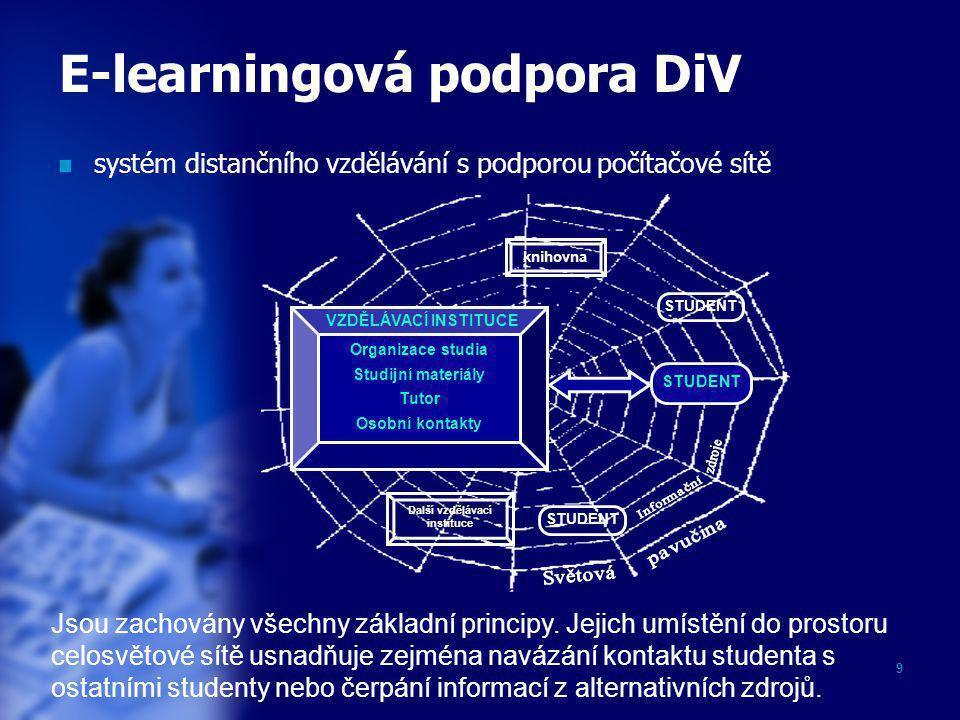9 E-learningová podpora DiV  systém distančního vzdělávání s podporou počítačové sítě Organizace studia Studijní materiály Tutor Osobní kontakty VZDĚ