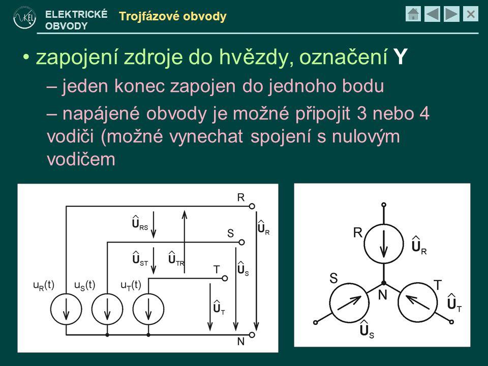 × ELEKTRICKÉ OBVODY Trojfázové obvody • zapojení zdroje do hvězdy, označení Y – jeden konec zapojen do jednoho bodu – napájené obvody je možné připojit 3 nebo 4 vodiči (možné vynechat spojení s nulovým vodičem