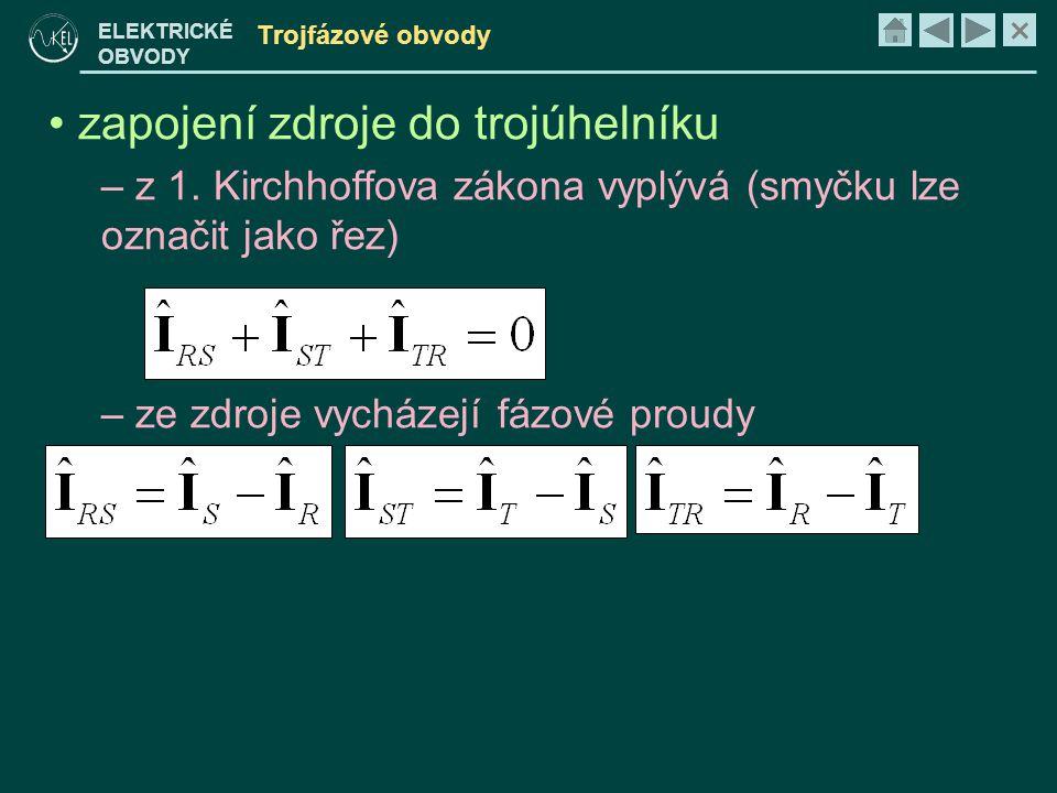 × ELEKTRICKÉ OBVODY Trojfázové obvody • zapojení zdroje do trojúhelníku – z 1.