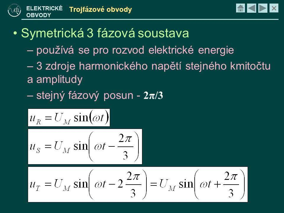 × ELEKTRICKÉ OBVODY Trojfázové obvody • Symetrická 3 fázová soustava – používá se pro rozvod elektrické energie – 3 zdroje harmonického napětí stejného kmitočtu a amplitudy – stejný fázový posun - 2π/3