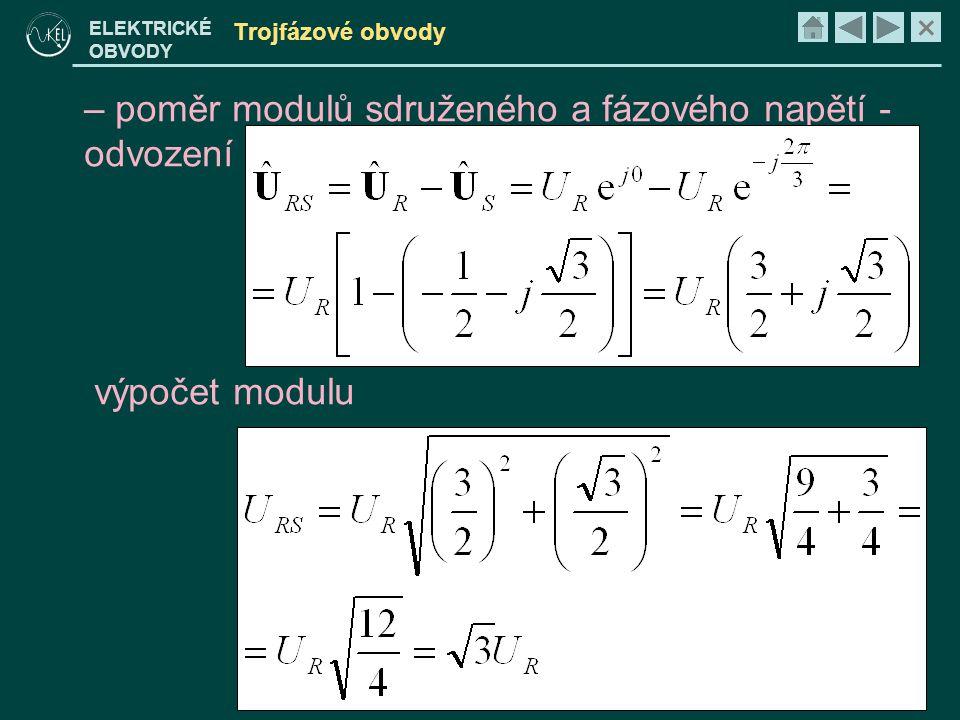 × ELEKTRICKÉ OBVODY Trojfázové obvody • pro symetrické napájení – všechna efektivní napětí jsou stejná, rozdíl fází je 2/3π (120°) – fázové napětí – sdružené napětí