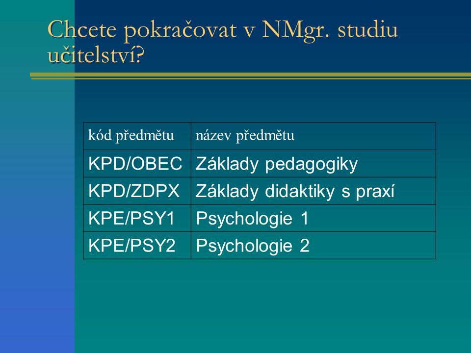 Chcete pokračovat v NMgr.studiu učitelství.
