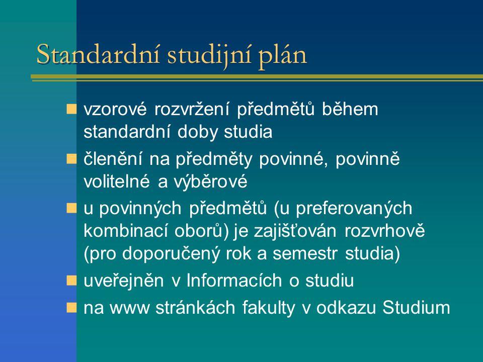 Standardní studijní plán  vzorové rozvržení předmětů během standardní doby studia  členění na předměty povinné, povinně volitelné a výběrové  u povinných předmětů (u preferovaných kombinací oborů) je zajišťován rozvrhově (pro doporučený rok a semestr studia)  uveřejněn v Informacích o studiu  na www stránkách fakulty v odkazu Studium