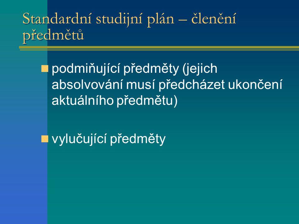 Standardní studijní plán – členění předmětů  podmiňující předměty (jejich absolvování musí předcházet ukončení aktuálního předmětu)  vylučující předměty