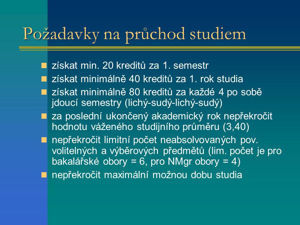 Požadavky na průchod studiem  získat min.20 kreditů za 1.