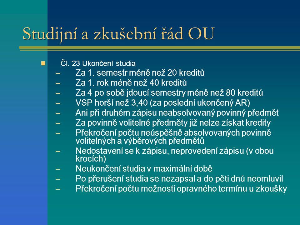Studijní a zkušební řád OU  Čl.23 Ukončení studia –Za 1.