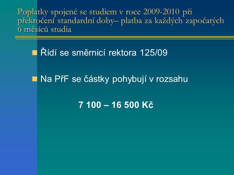 Poplatky spojené se studiem v roce 2009-2010 při překročení standardní doby– platba za každých započatých 6 měsíců studia  Řídí se směrnicí rektora 125/09  Na PřF se částky pohybují v rozsahu 7 100 – 16 500 Kč