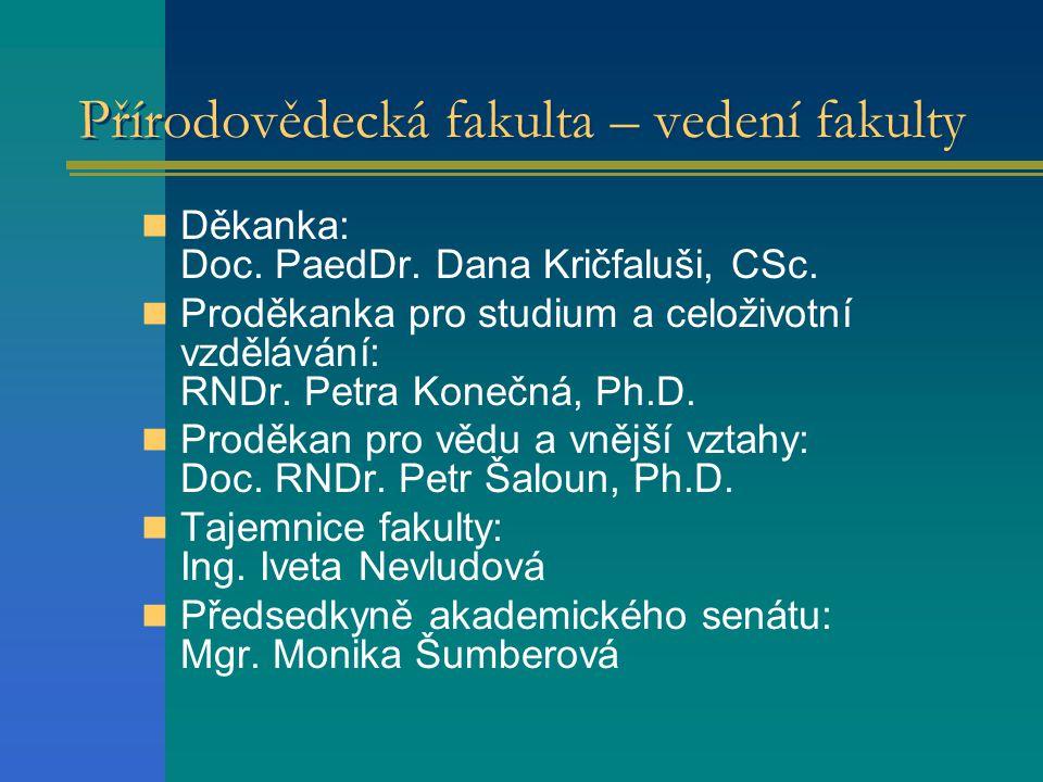 Přírodovědecká fakulta – vedení fakulty  Děkanka: Doc.