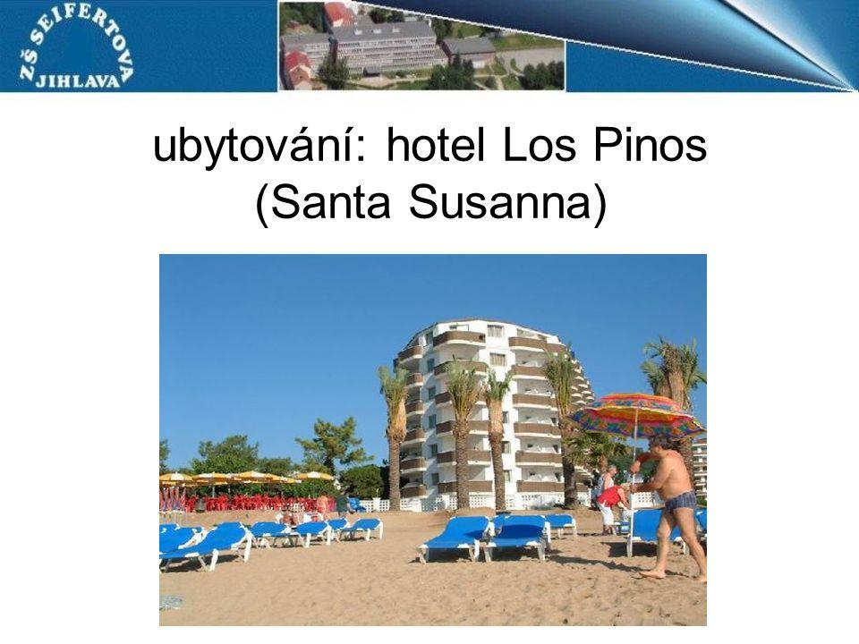 ubytování: hotel Los Pinos (Santa Susanna)