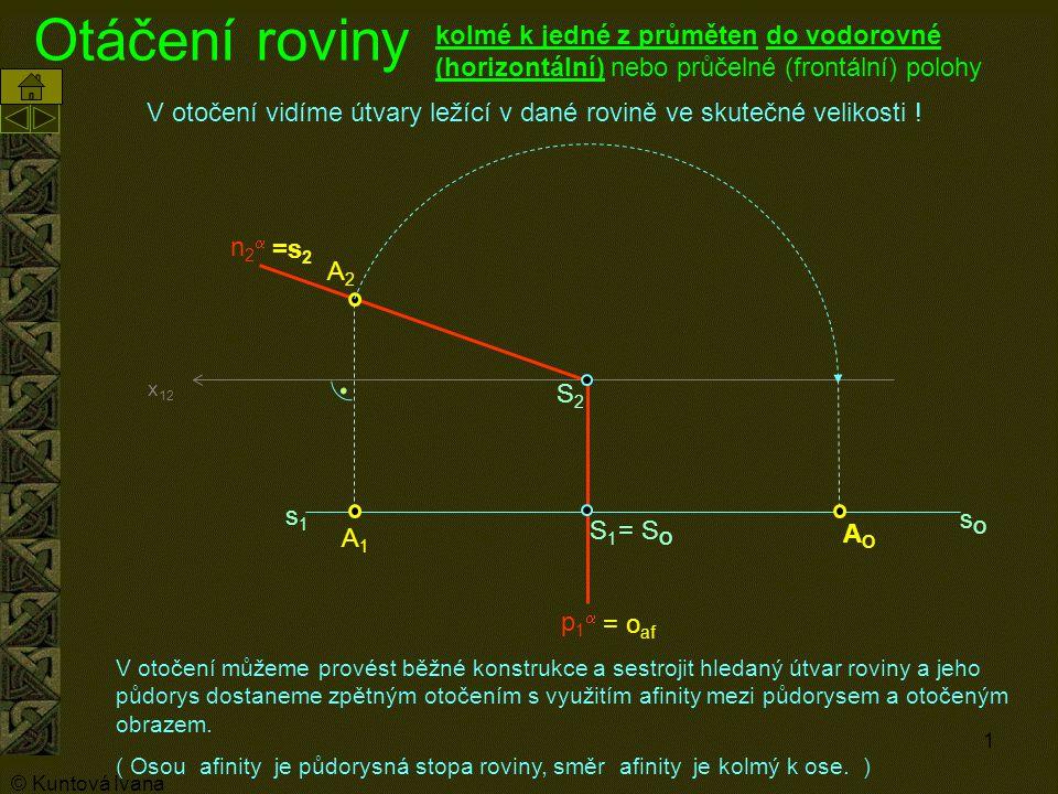 1 Otáčení roviny A1A1 A2A2 p1p1 n2n2 x 12 kolmé k jedné z průměten do vodorovné (horizontální) nebo průčelné (frontální) polohy S1S1 S2S2 AOAO s1s1 =s 2 sOsO V otočení můžeme provést běžné konstrukce a sestrojit hledaný útvar roviny a jeho půdorys dostaneme zpětným otočením s využitím afinity mezi půdorysem a otočeným obrazem.