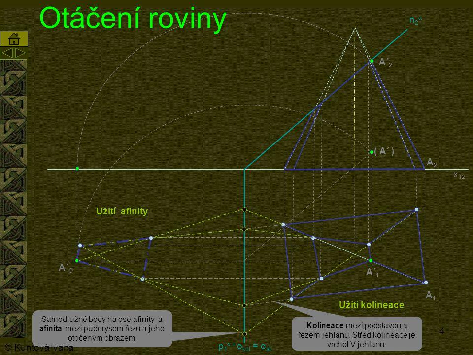 4 n2n2 p 1  o kol = o af Otáčení roviny A1A1 A´ 1 A´ 2 A2A2 Samodružné body na ose afinity a afinita mezi půdorysem řezu a jeho otočeným obrazem
