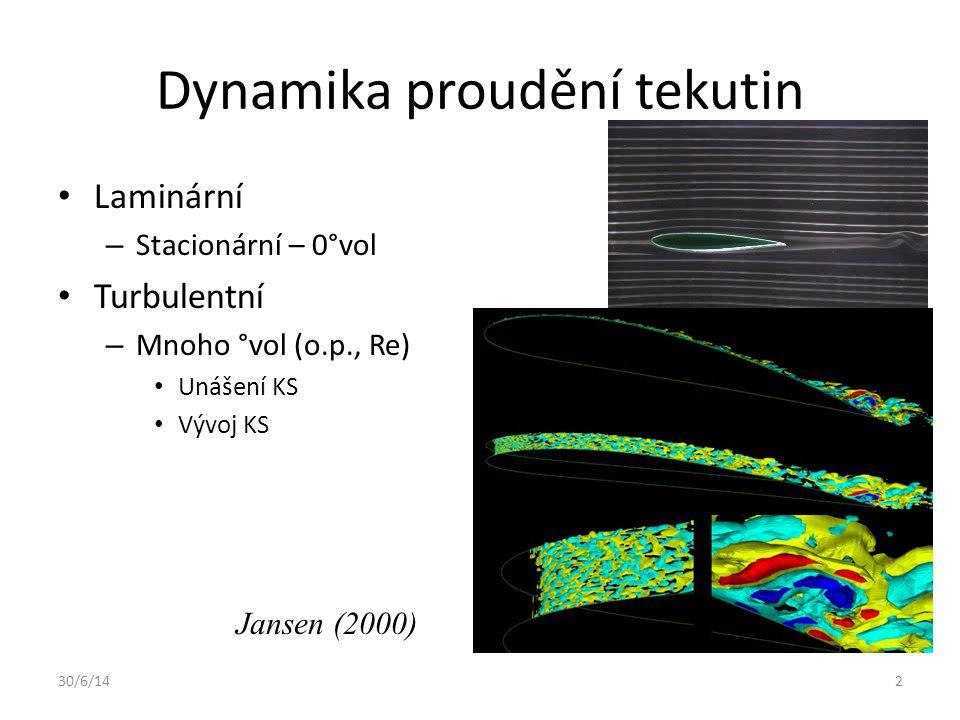 30/6/142 Dynamika proudění tekutin • Laminární – Stacionární – 0°vol • Turbulentní – Mnoho °vol (o.p., Re) • Unášení KS • Vývoj KS Jansen (2000)