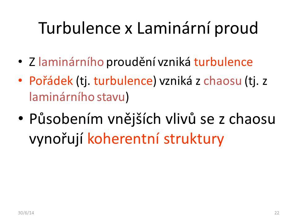 30/6/1422 Turbulence x Laminární proud • Z laminárního proudění vzniká turbulence • Pořádek (tj. turbulence) vzniká z chaosu (tj. z laminárního stavu)