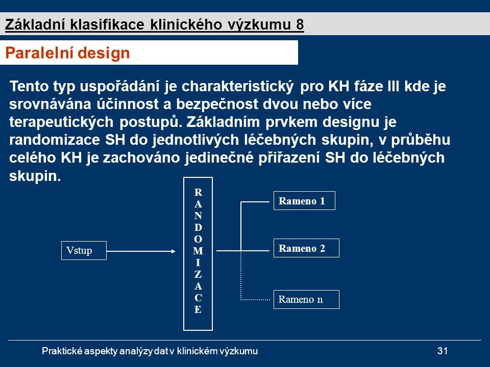Praktické aspekty analýzy dat v klinickém výzkumu31 Základní klasifikace klinického výzkumu 8 Paralelní design Vstup RANDOMIZACERANDOMIZACE Rameno 1 Rameno 2 Rameno n Tento typ uspořádání je charakteristický pro KH fáze III kde je srovnávána účinnost a bezpečnost dvou nebo více terapeutických postupů.