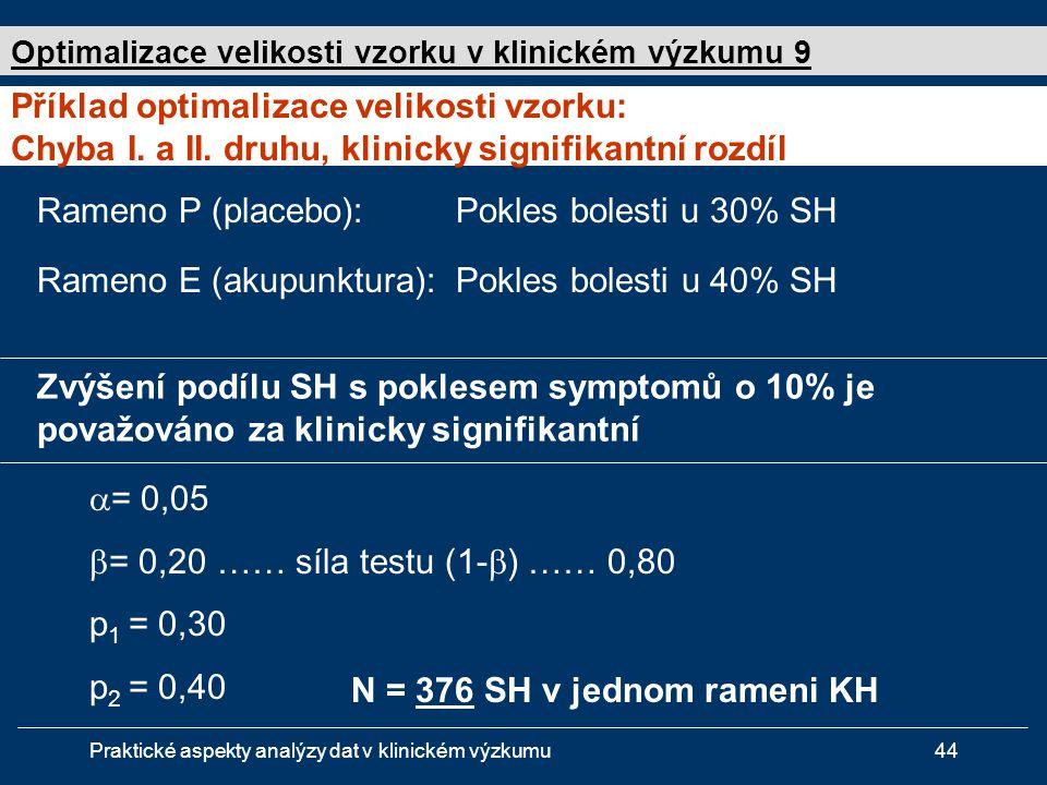Praktické aspekty analýzy dat v klinickém výzkumu44 Rameno P (placebo): Pokles bolesti u 30% SH Rameno E (akupunktura): Pokles bolesti u 40% SH  = 0,05  = 0,20 …… síla testu (1-  ) …… 0,80 p 1 = 0,30 p 2 = 0,40 N = 376 SH v jednom rameni KH Příklad optimalizace velikosti vzorku: Chyba I.