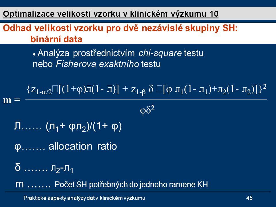 Praktické aspekty analýzy dat v klinickém výzkumu45  Analýza prostřednictvím chi-square testu nebo Fisherova exaktního testu Л…… (л 1 + φл 2 )/(1+ φ) m = {z 1-  √ [(1+φ)л(1- л)] + z 1-  δ √ [φ л 1 (1- л 1 )+л 2 (1- л 2 )]} 2 φδ 2 φ…….