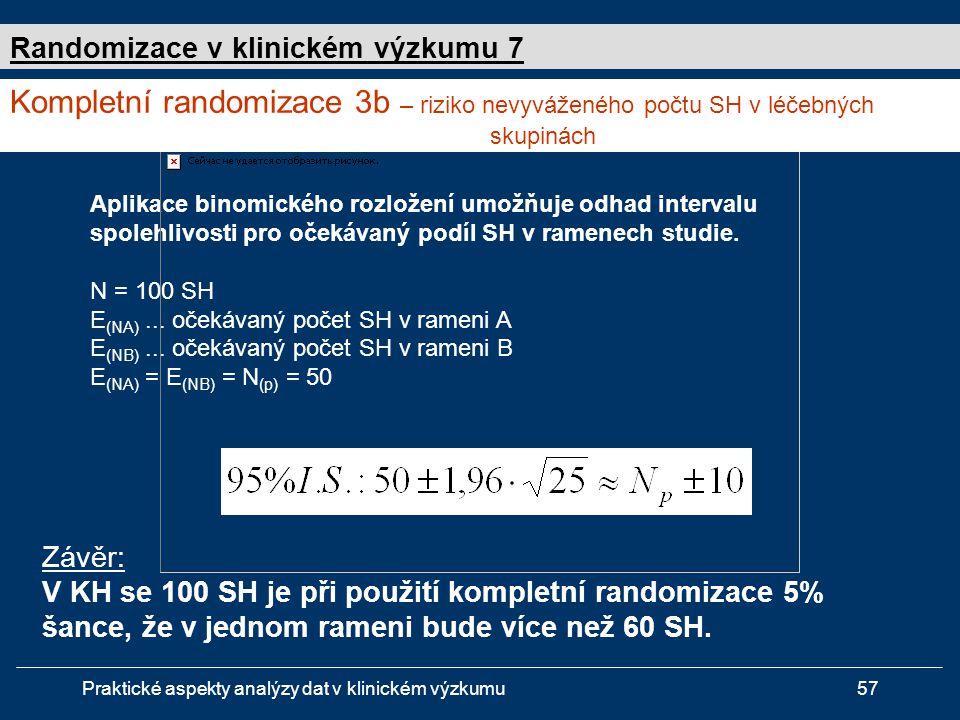 Praktické aspekty analýzy dat v klinickém výzkumu57 Aplikace binomického rozložení umožňuje odhad intervalu spolehlivosti pro očekávaný podíl SH v ramenech studie.