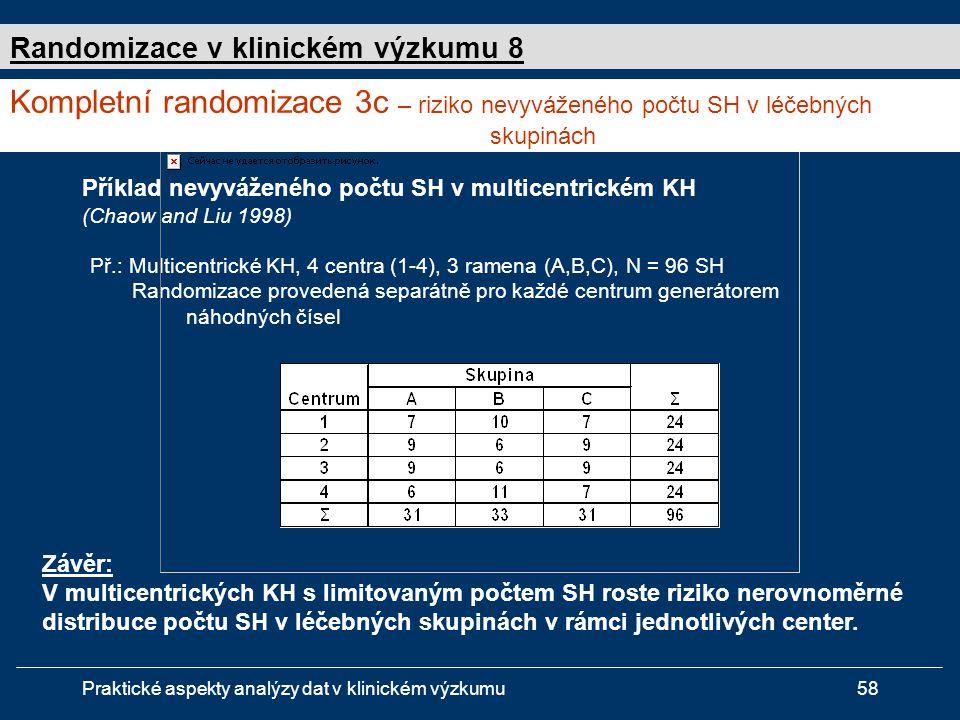 Praktické aspekty analýzy dat v klinickém výzkumu58 Příklad nevyváženého počtu SH v multicentrickém KH (Chaow and Liu 1998) Př.: Multicentrické KH, 4 centra (1-4), 3 ramena (A,B,C), N = 96 SH Randomizace provedená separátně pro každé centrum generátorem náhodných čísel Závěr: V multicentrických KH s limitovaným počtem SH roste riziko nerovnoměrné distribuce počtu SH v léčebných skupinách v rámci jednotlivých center.