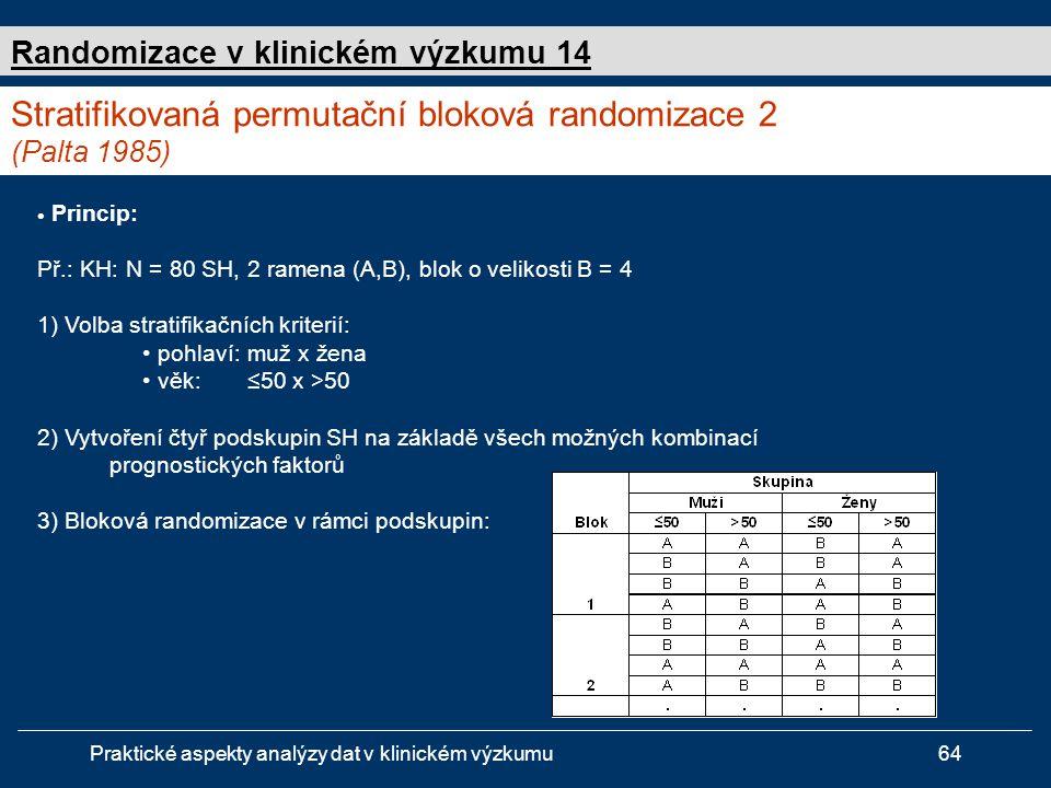 Praktické aspekty analýzy dat v klinickém výzkumu64  Princip: Př.: KH: N = 80 SH, 2 ramena (A,B), blok o velikosti B = 4 1) Volba stratifikačních kriterií: • pohlaví:muž x žena • věk:≤50 x >50 2) Vytvoření čtyř podskupin SH na základě všech možných kombinací prognostických faktorů 3) Bloková randomizace v rámci podskupin: Stratifikovaná permutační bloková randomizace 2 (Palta 1985) Randomizace v klinickém výzkumu 14