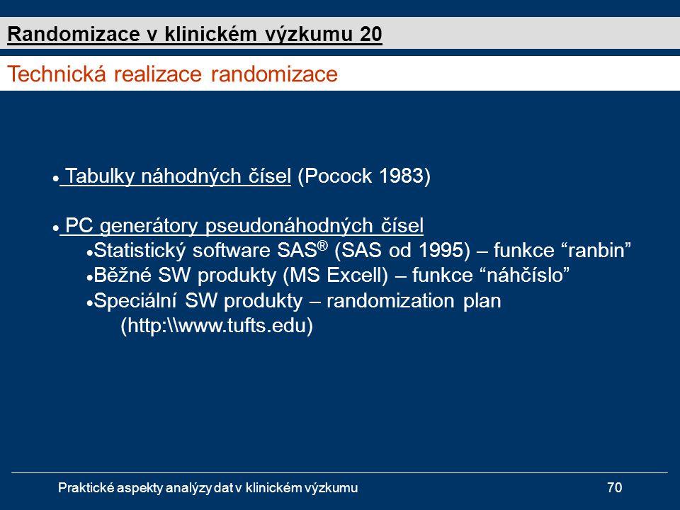 Praktické aspekty analýzy dat v klinickém výzkumu70  Tabulky náhodných čísel (Pocock 1983)  PC generátory pseudonáhodných čísel  Statistický software SAS ® (SAS od 1995) – funkce ranbin  Běžné SW produkty (MS Excell) – funkce náhčíslo  Speciální SW produkty – randomization plan (http:\\www.tufts.edu) Technická realizace randomizace Randomizace v klinickém výzkumu 20