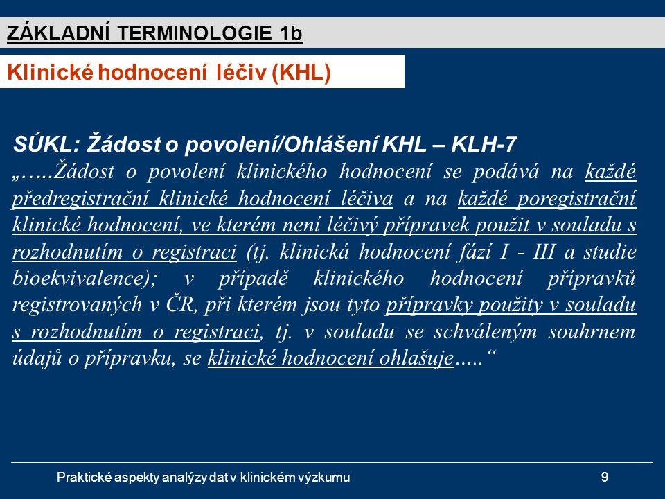 """Praktické aspekty analýzy dat v klinickém výzkumu9 ZÁKLADNÍ TERMINOLOGIE 1b Klinické hodnocení léčiv (KHL) SÚKL: Žádost o povolení/Ohlášení KHL – KLH-7 """"….."""