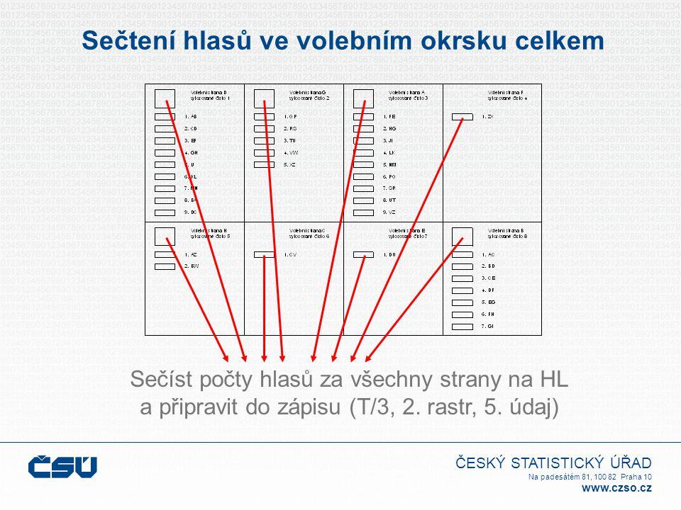 ČESKÝ STATISTICKÝ ÚŘAD Na padesátém 81, 100 82 Praha 10 www.czso.cz Sečtení hlasů ve volebním okrsku celkem Sečíst počty hlasů za všechny strany na HL a připravit do zápisu (T/3, 2.