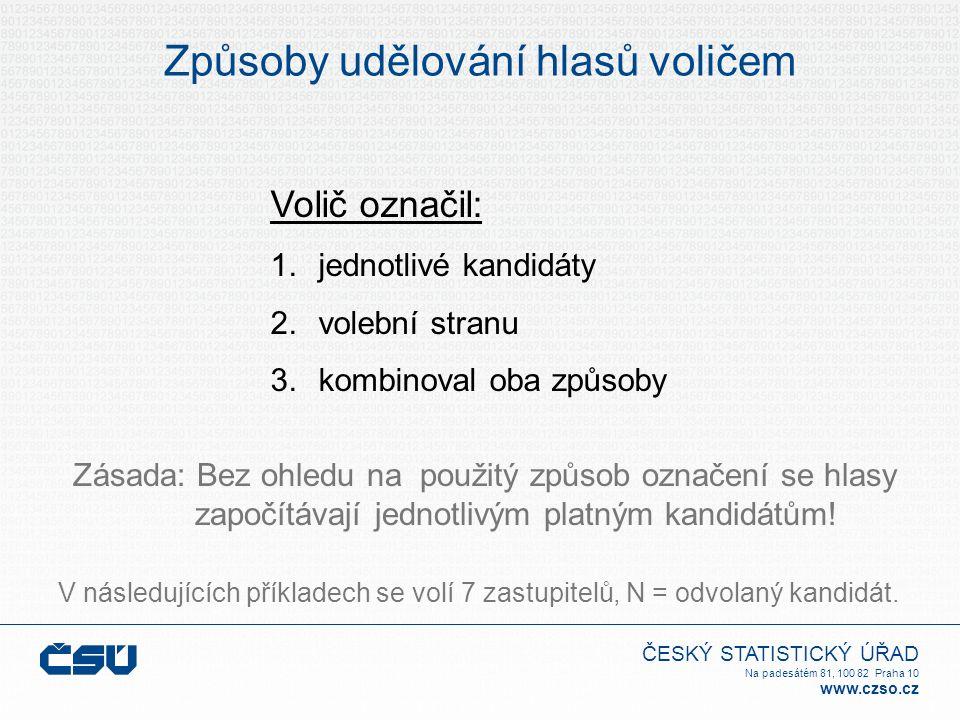 ČESKÝ STATISTICKÝ ÚŘAD Na padesátém 81, 100 82 Praha 10 www.czso.cz Způsoby udělování hlasů voličem Volič označil: 1.jednotlivé kandidáty 2.volební stranu 3.kombinoval oba způsoby V následujících příkladech se volí 7 zastupitelů, N = odvolaný kandidát.