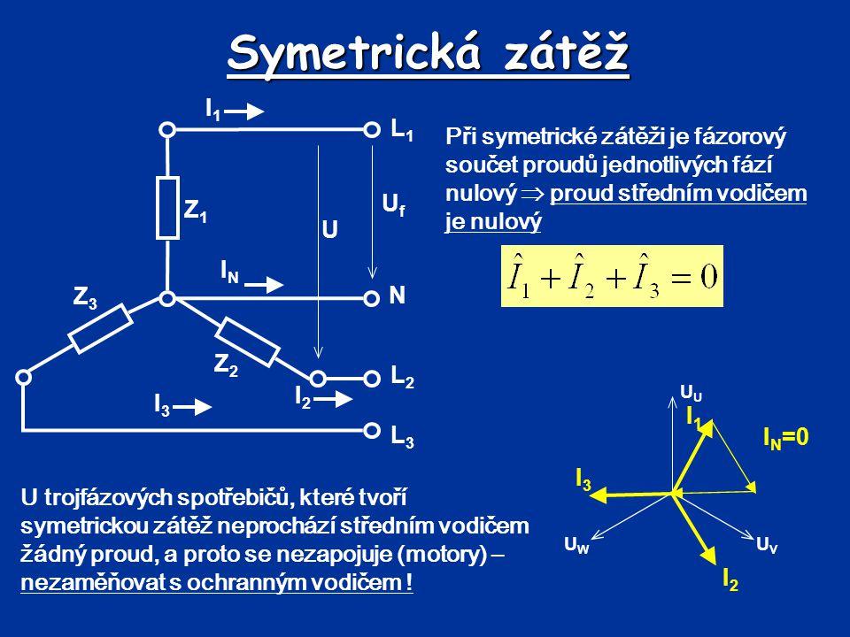 Symetrická zátěž Při symetrické zátěži je fázorový součet proudů jednotlivých fází nulový  proud středním vodičem je nulový L1L1 N L2L2 L3L3 UfUf U I