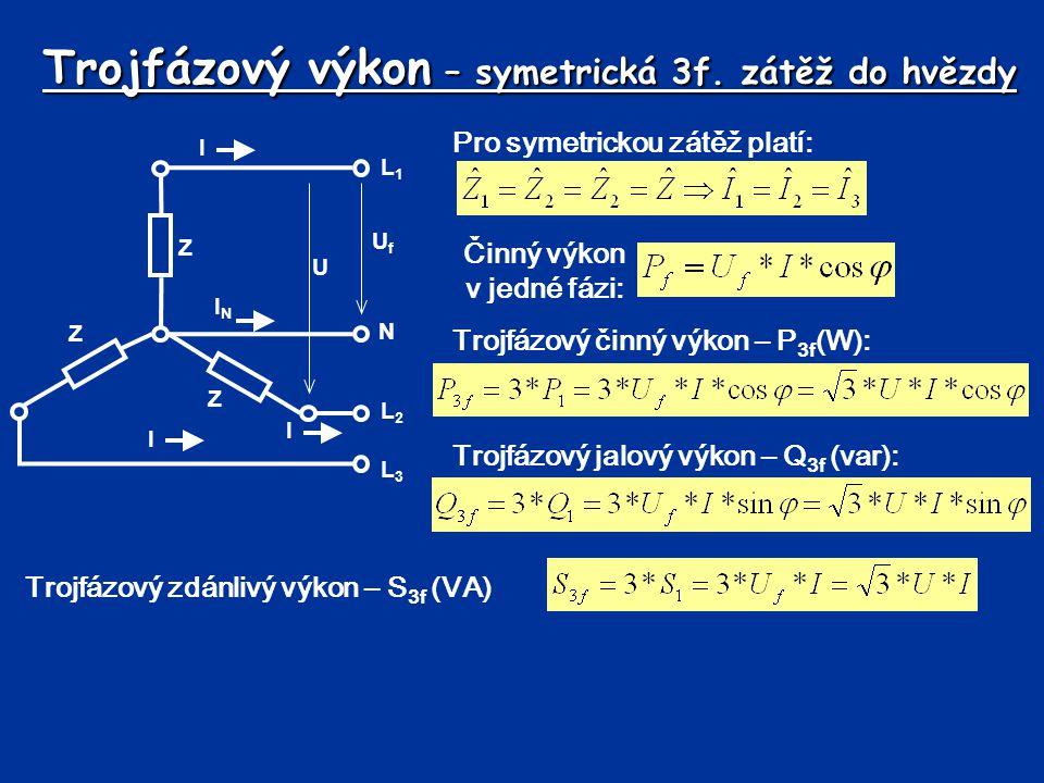 Trojfázový výkon – symetrická 3f. zátěž do hvězdy L1L1 N L2L2 L3L3 UfUf U I ININ I I Z Z Z Pro symetrickou zátěž platí: Činný výkon v jedné fázi: Troj