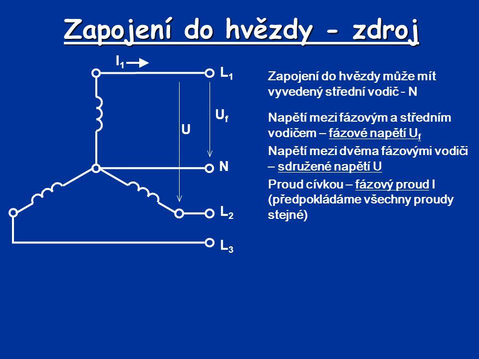 Zapojení do hvězdy - zdroj Zapojení do hvězdy může mít vyvedený střední vodič - N L1L1 N L2L2 L3L3 UfUf Napětí mezi fázovým a středním vodičem – fázov