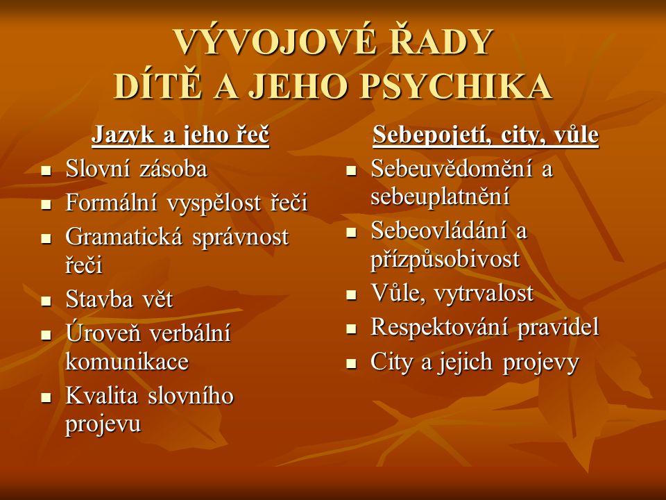 VÝVOJOVÉ ŘADY DÍTĚ A JEHO PSYCHIKA Jazyk a jeho řeč  Slovní zásoba  Formální vyspělost řeči  Gramatická správnost řeči  Stavba vět  Úroveň verbál