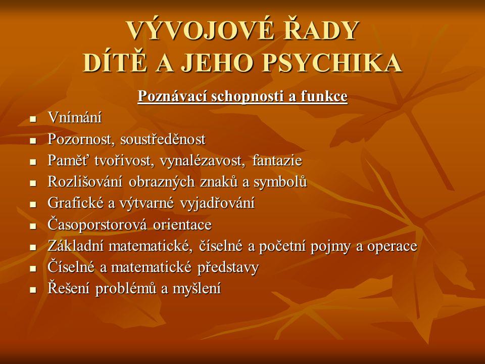 VÝVOJOVÉ ŘADY DÍTĚ A JEHO PSYCHIKA Poznávací schopnosti a funkce  Vnímání  Pozornost, soustředěnost  Paměť tvořivost, vynalézavost, fantazie  Rozl