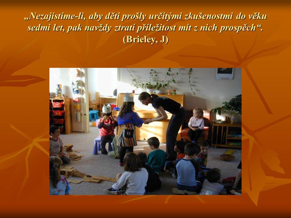 """""""Nezajistíme-li, aby děti prošly určitými zkušenostmi do věku sedmi let, pak navždy ztratí příležitost mít z nich prospěch"""". (Brieley, J)"""