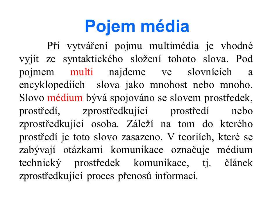 Při vytváření pojmu multimédia je vhodné vyjít ze syntaktického složení tohoto slova.