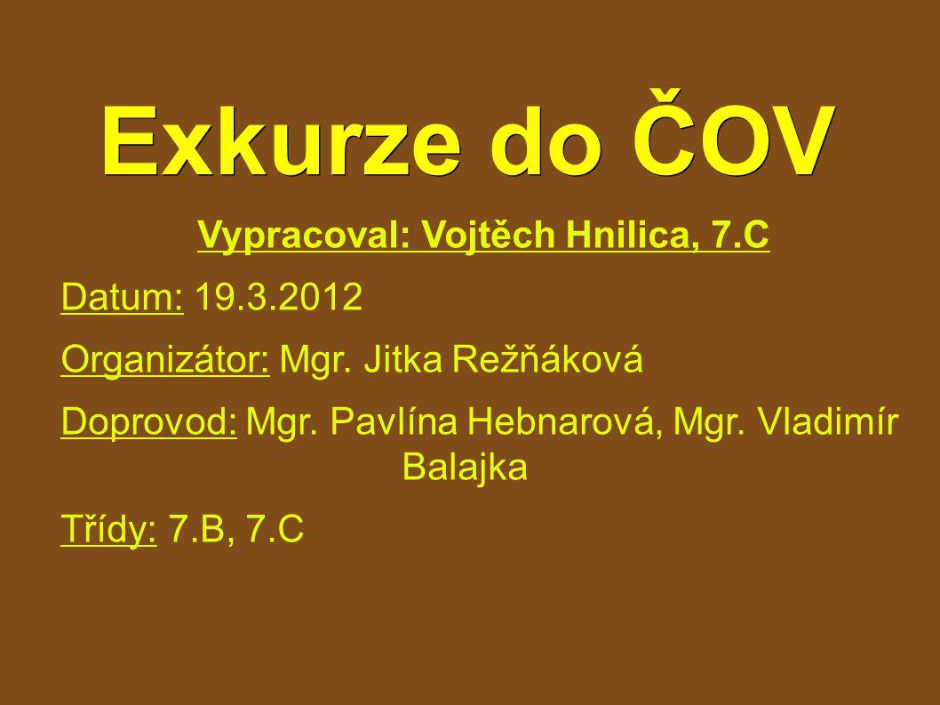 Exkurze do ČOV Vypracoval: Vojtěch Hnilica, 7.C Datum: 19.3.2012 Organizátor: Mgr.