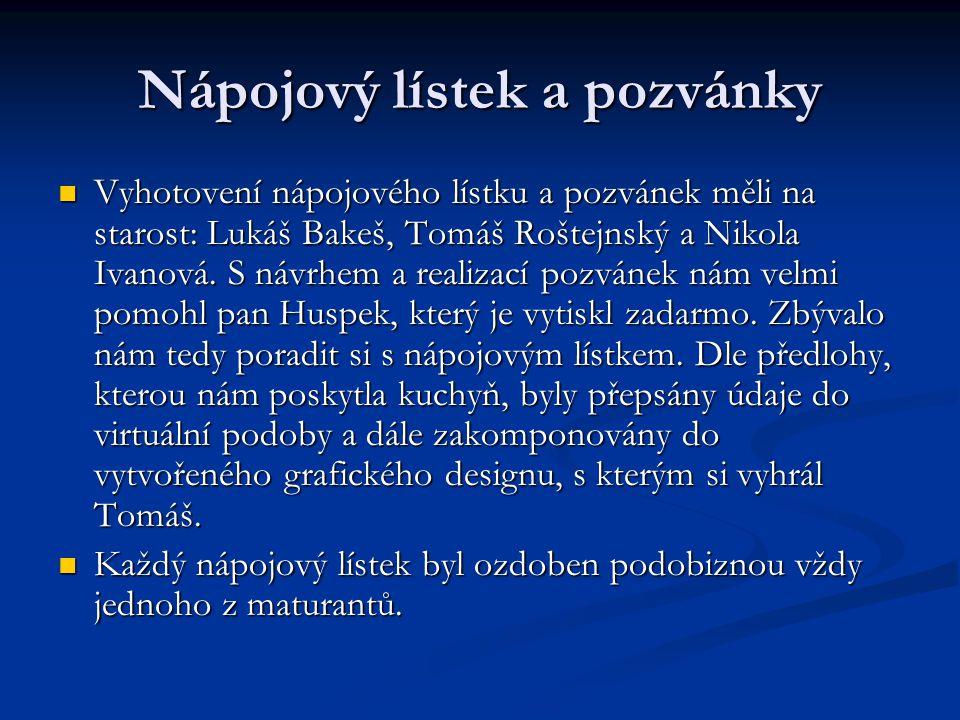 Nápojový lístek a pozvánky  Vyhotovení nápojového lístku a pozvánek měli na starost: Lukáš Bakeš, Tomáš Roštejnský a Nikola Ivanová.
