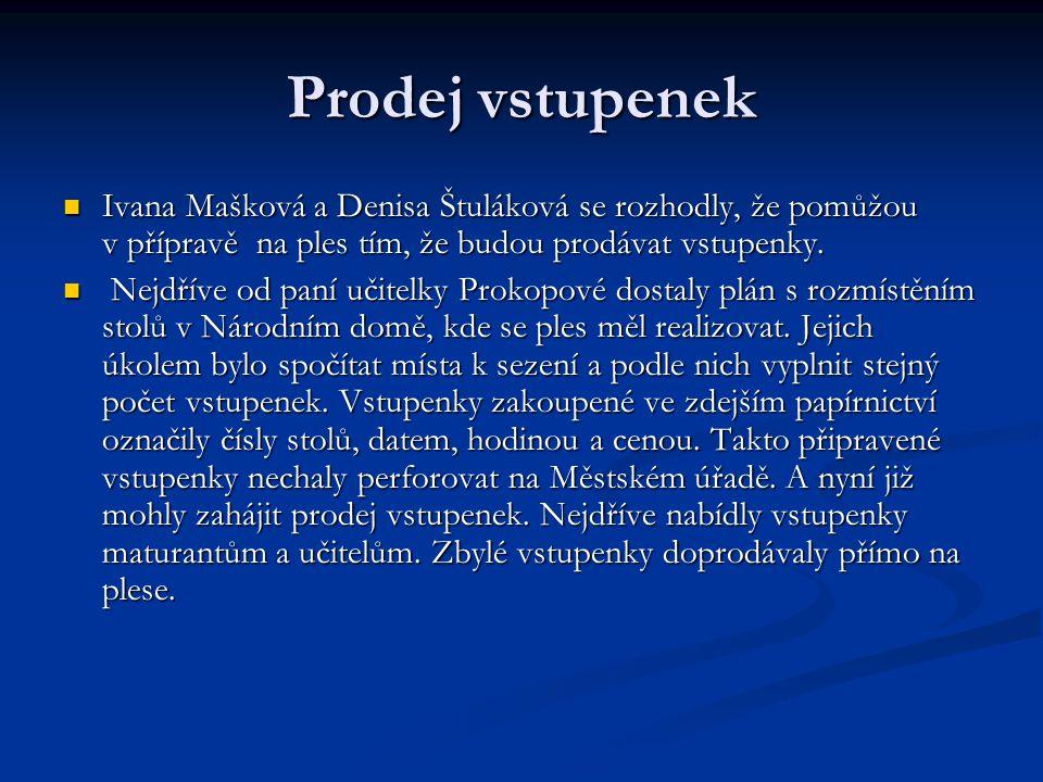 Prodej vstupenek  Ivana Mašková a Denisa Štuláková se rozhodly, že pomůžou v přípravě na ples tím, že budou prodávat vstupenky.  Nejdříve od paní uč