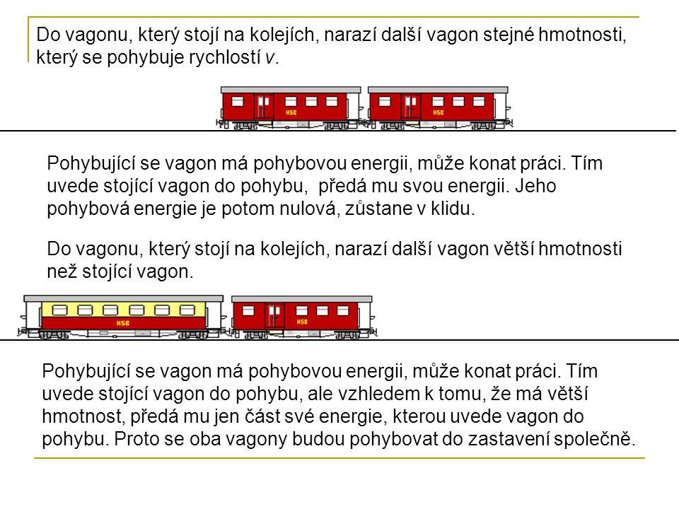 Do vagonu, který stojí na kolejích, narazí další vagon stejné hmotnosti, který se pohybuje rychlostí v. Pohybující se vagon má pohybovou energii, může