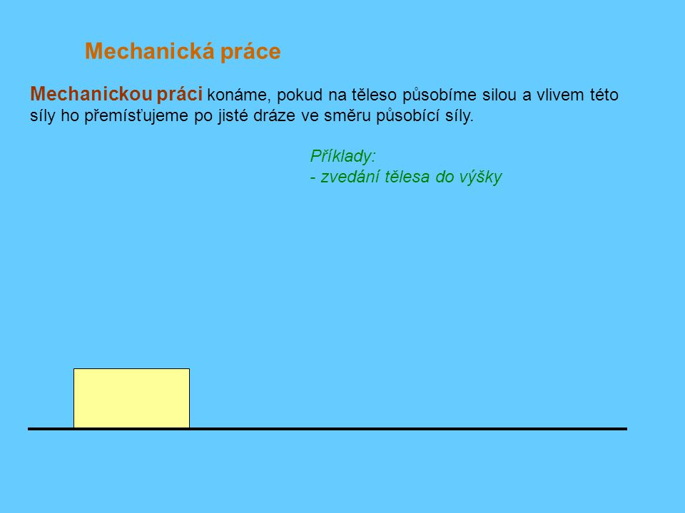 Mechanická práce Příklady: - zvedání tělesa do výšky F Mechanickou práci konáme, pokud na těleso působíme silou a vlivem této síly ho přemísťujeme po jisté dráze ve směru působící síly.
