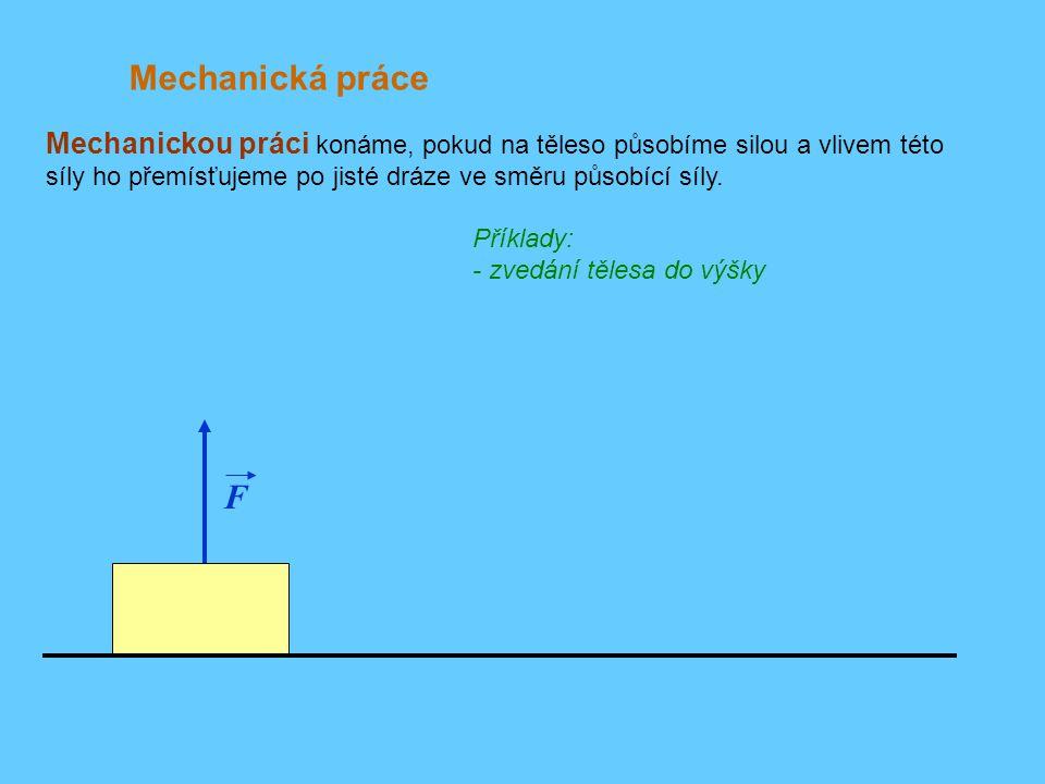 F Příklad: Zvedneme-li těleso do výšky h jednou pomalu.... Mechanický výkon