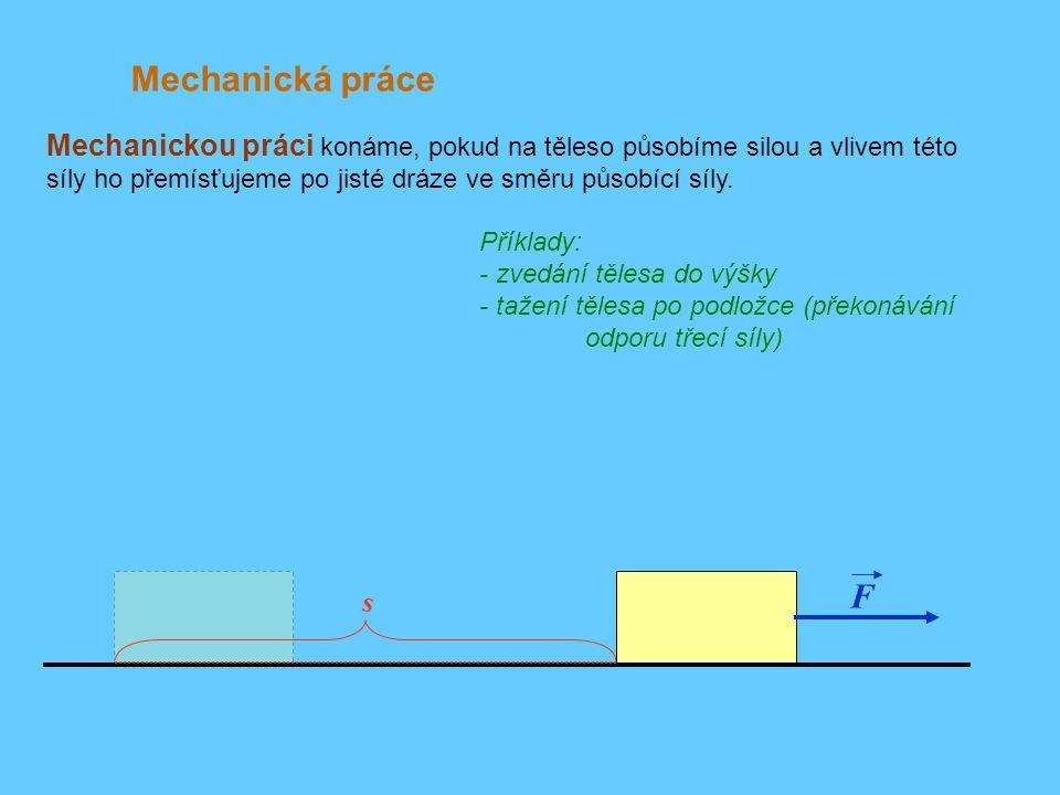 h h Příklad: Zvedneme-li těleso do výšky h jednou pomalu, podruhé rychle, vykonáme v obou případech stejnou práci.