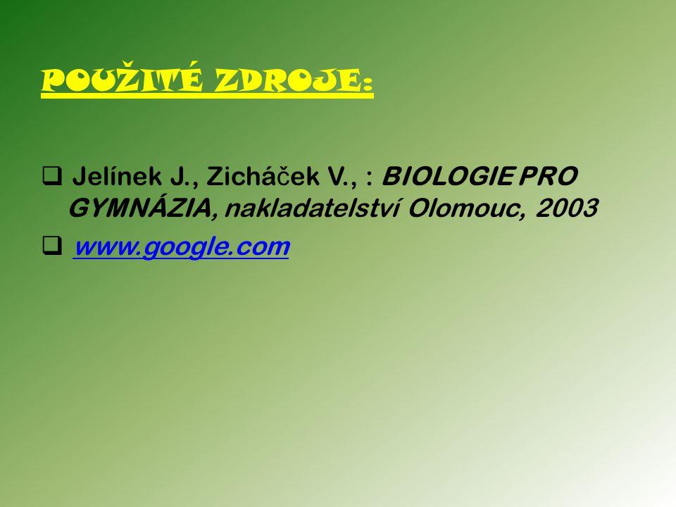 POUŽITÉ ZDROJE:  Jelínek J., Zichá č ek V., : BIOLOGIE PRO GYMNÁZIA, nakladatelství Olomouc, 2003  www.google.comwww.google.com