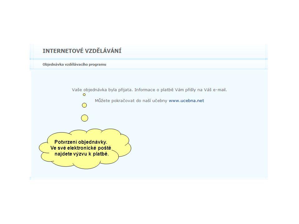 Potvrzení objednávky. Ve své elektronické poště najdete výzvu k platbě.