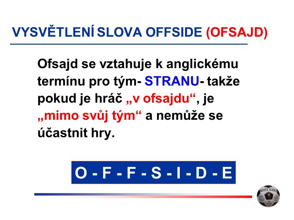 """VYSVĚTLENÍ SLOVA OFFSIDE (OFSAJD) Ofsajd se vztahuje k anglickému termínu pro tým- STRANU- takže pokud je hráč """"v ofsajdu"""", je """"mimo svůj tým"""" a nemůž"""