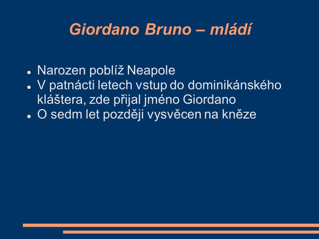 Giordano Bruno Původně: Filipo Bruno 16. století - počátek 17. století