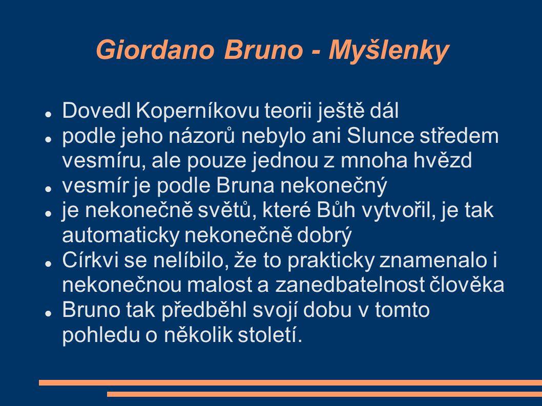 Giordano Bruno - spisy kkorigoval Koperníkův heliocentrismus a vyložil svoji kosmologickou teorii o nekonečnosti vesmíru