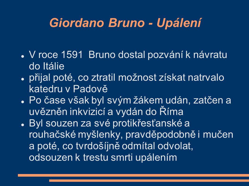 Giordano Bruno - Myšlenky  Dovedl Koperníkovu teorii ještě dál  podle jeho názorů nebylo ani Slunce středem vesmíru, ale pouze jednou z mnoha hvězd